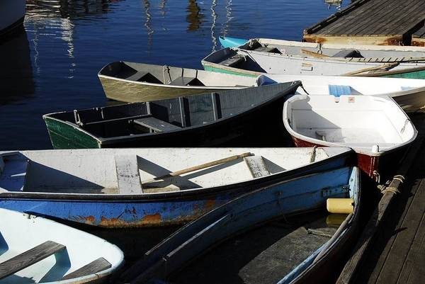 Art Print featuring the photograph Blue Boats Of Rockport by AnnaJanessa PhotoArt