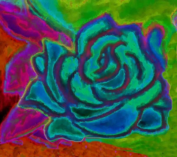 Ms Mixed Media - Blue Bohemian Rose by Arleen McCann