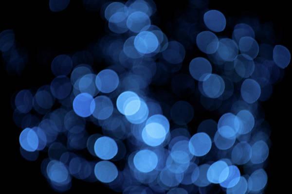 Photograph - Blue Bokeh Blur by Helen Northcott