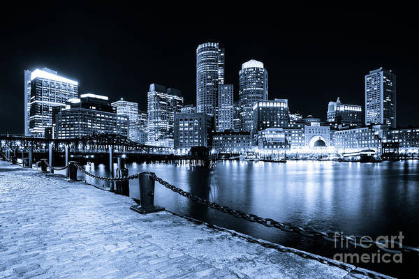 Wall Art - Photograph - Blue Boston Skyline At Night And Harborwalk Photo by Paul Velgos