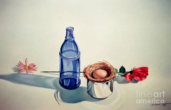 Painting - Blue Bottle Flowers And Bird Nest by Christopher Shellhammer