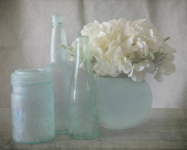 Photograph - Blue Bottles And Hydrangeas by Teresa Wilson