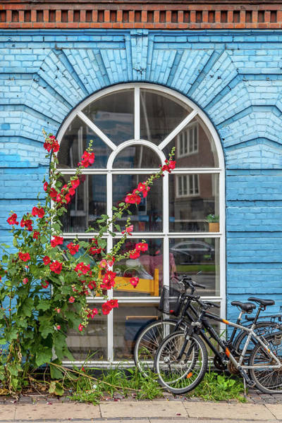 Scandinavian Photograph - Blue Brick Wall With Bicycles by W Chris Fooshee