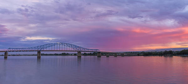Photograph - Blue Bridge At Sunset by Loree Johnson