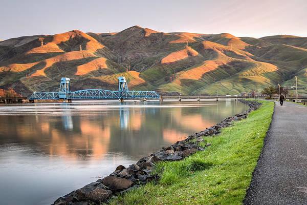 Lewiston Photograph - Blue Bridge From The Levee by Brad Stinson