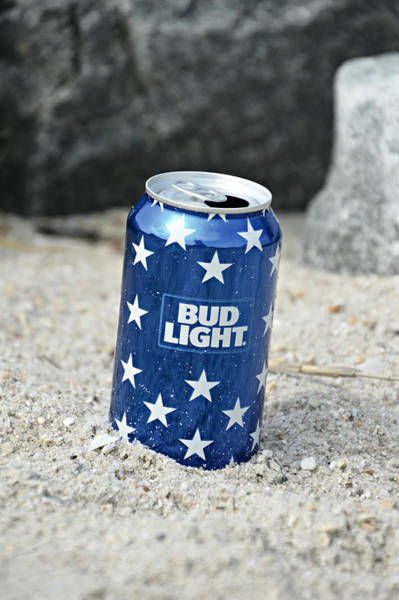 Mixed Media - Blue Bud Light by Trish Tritz