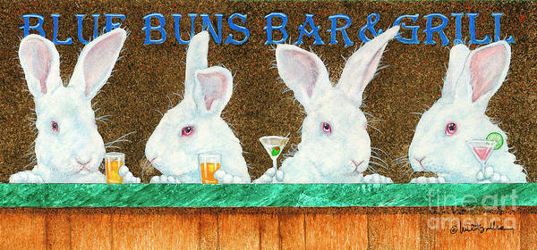Rabbit Painting - Blue Buns Bar And Grill... by Will Bullas