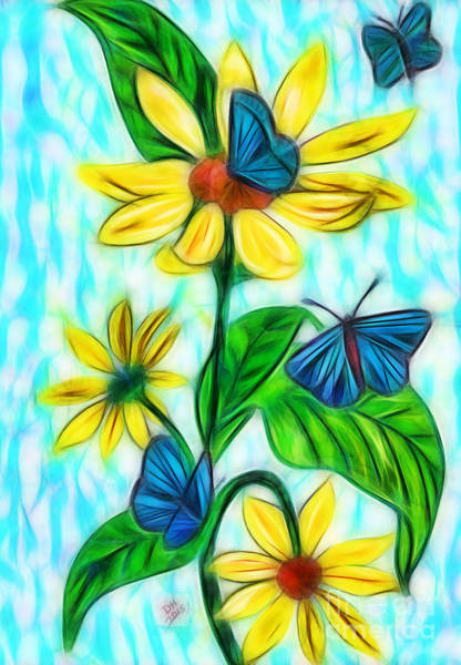 Digital Art - Blue Butterflies by D Hackett