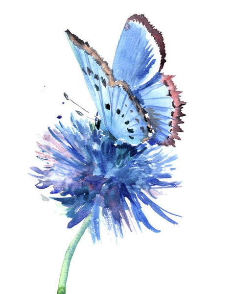 Wall Art - Painting - Blue Butterfly And Blue Flower by Suren Nersisyan