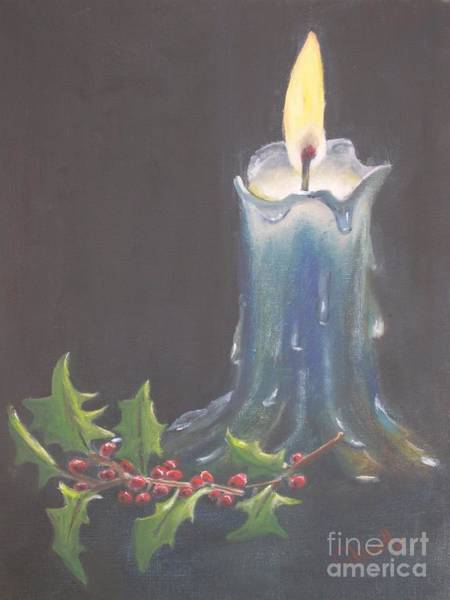 Wall Art - Painting - Blue Candle by Patricia Caldwell