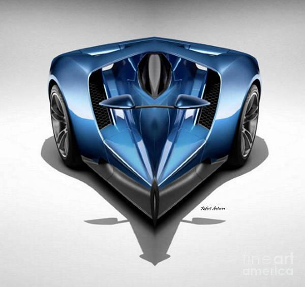 Digital Art - Blue Car 002 by Rafael Salazar
