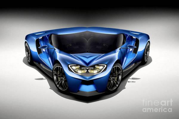 Digital Art - Blue Car 003 by Rafael Salazar