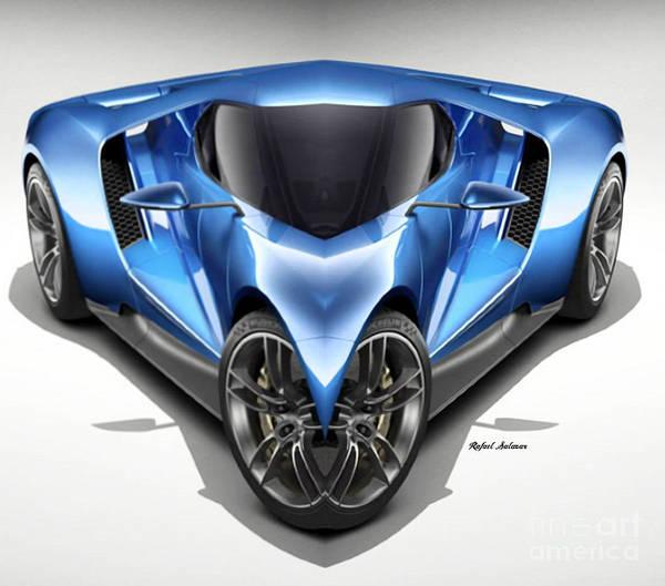 Digital Art - Blue Car 01 by Rafael Salazar