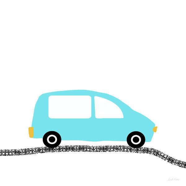 Driving Wall Art - Digital Art - Blue Car On Road- Art By Linda Woods by Linda Woods