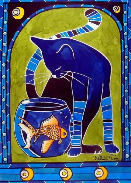 Painting - Blue Cat With Goldfish by Dora Hathazi Mendes