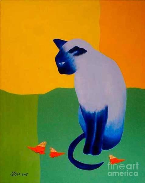 Origami Painting - Blue Cat by Wonju Hulse