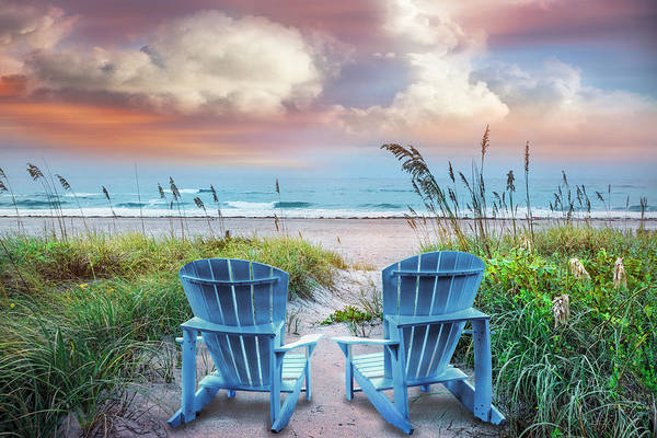 Muscovy Photograph - Blue Chairs At The Sea by Debra and Dave Vanderlaan