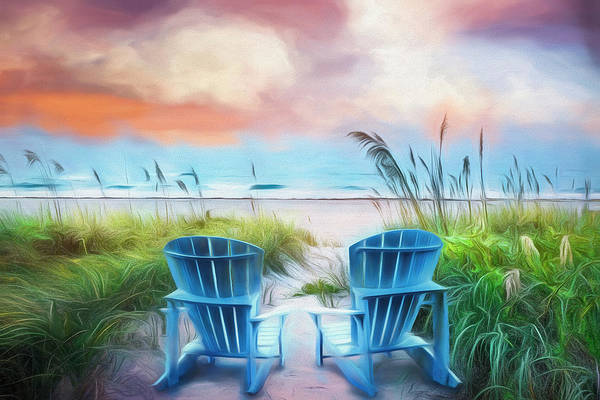 Muscovy Photograph - Blue Chairs At The Sea In Soft Watercolors by Debra and Dave Vanderlaan