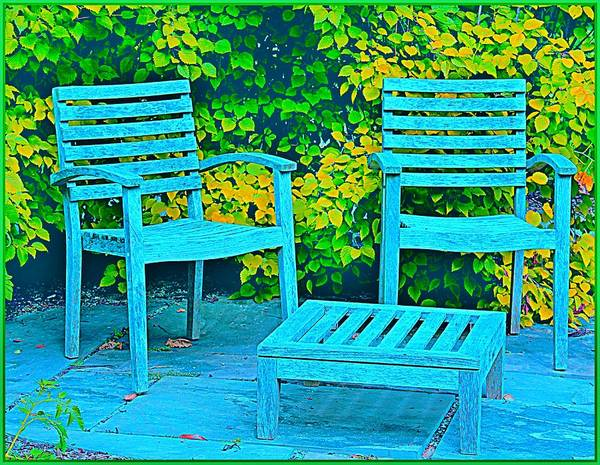 Wall Art - Photograph - Blue Chairs by Mindy Newman