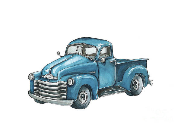Old Chevy Truck Painting - Blue Chevy Truck by Annie Laurie