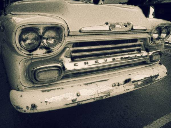 Photograph - Blue Chevy Truck Grill Bw by Michael Thomas