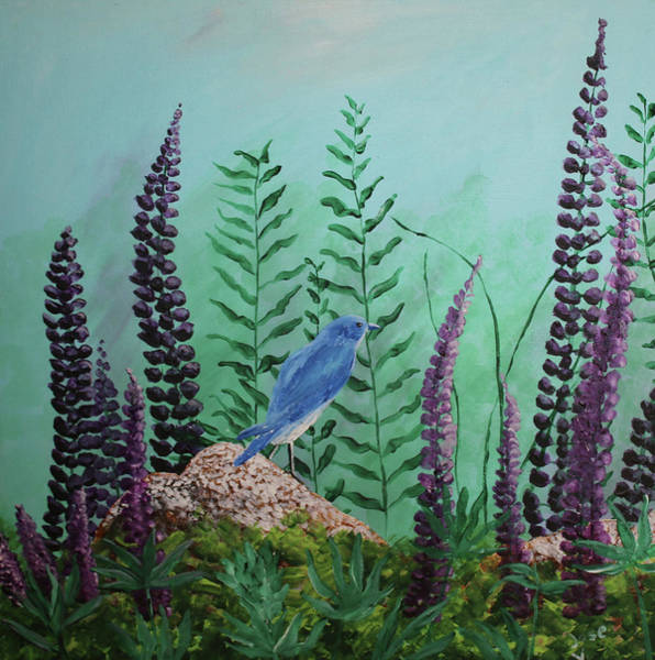 Painting - Blue Chickadee Standing On A Rock 1 by M Valeriano