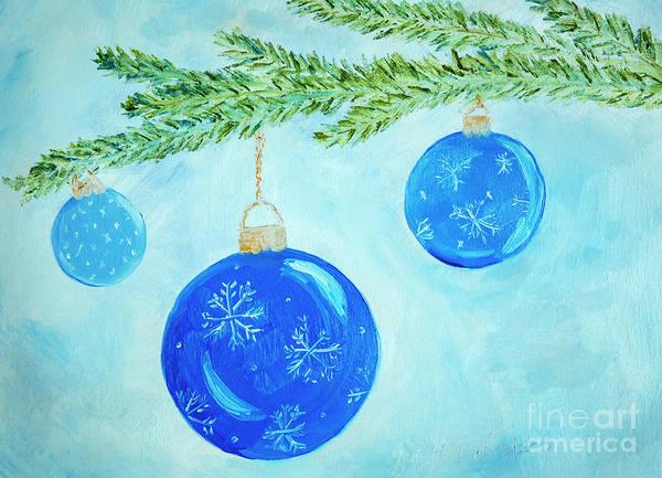 Wall Art - Painting - Blue Christmas Balls by Iris Richardson