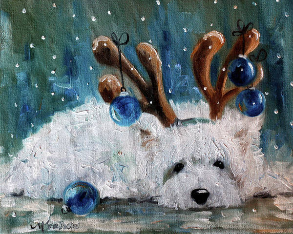 Wall Art - Painting - Blue Christmas by Mary Sparrow