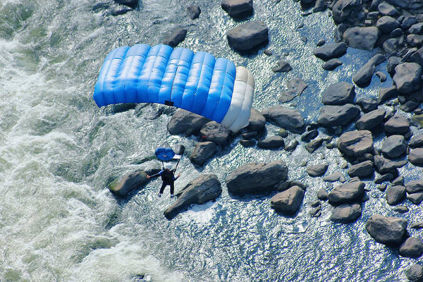 Base Jumping Photograph - Blue Chute Over The New River by Robert  Suits Jr