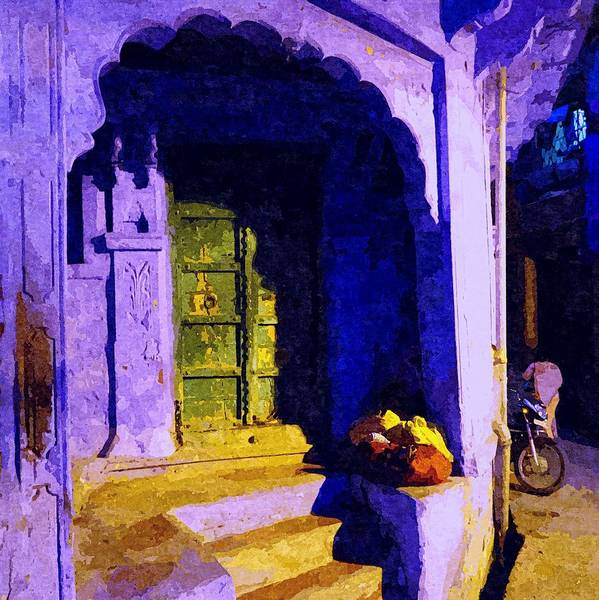 Dirty Laundry Photograph - Blue City House Street Corner Rajasthan India 1a by Sue Jacobi