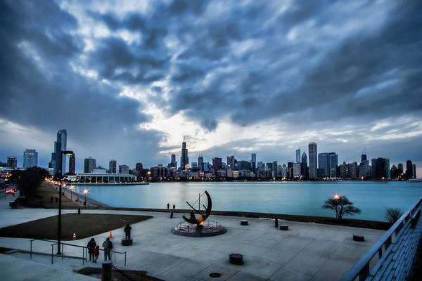 Photograph - Blue Clouds And Chicago Skyline by Sven Brogren