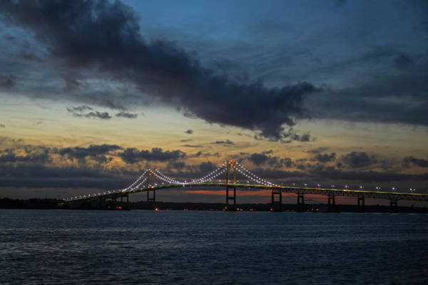 Photograph - Blue Clouds Over The Pell Bridge Newport Ri by Toby McGuire