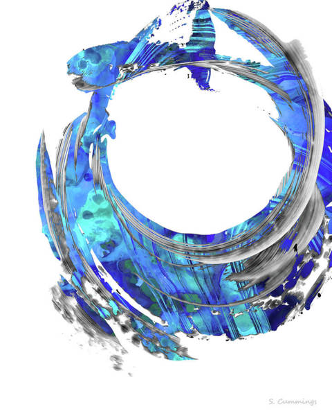 Sharp Painting - Blue Contemporary Art - Swirling 2 - Sharon Cummings by Sharon Cummings