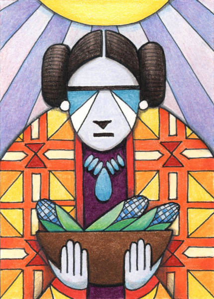 Indian Corn Drawing - Blue Corn Woman by Amy S Turner