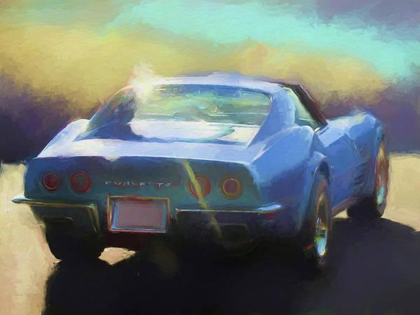 Digital Art - Blue Corvette by David King