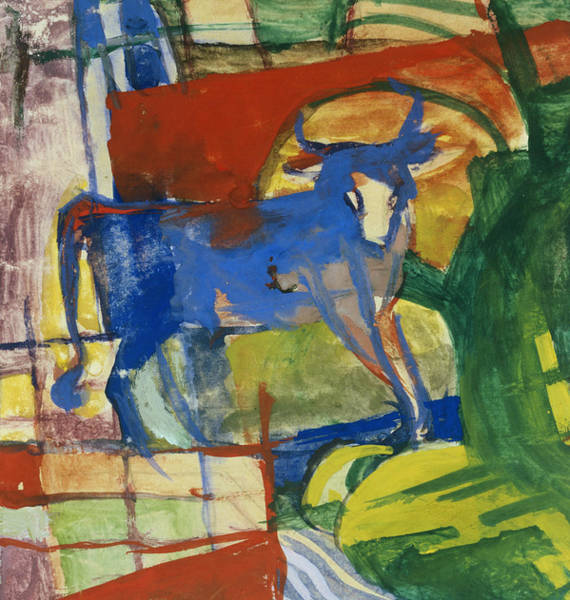 The Blue Rider Wall Art - Painting - Blue Cow by Franz Marc