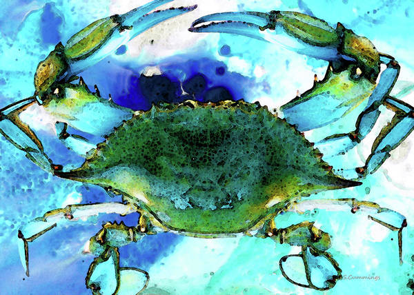 Blues Painting - Blue Crab - Abstract Seafood Painting by Sharon Cummings