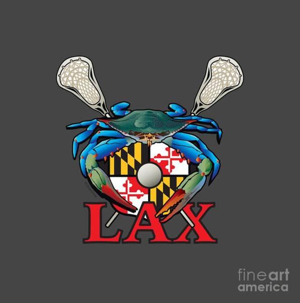 Lax Digital Art - Blue Crab Maryland Lax Crest by Joe Barsin