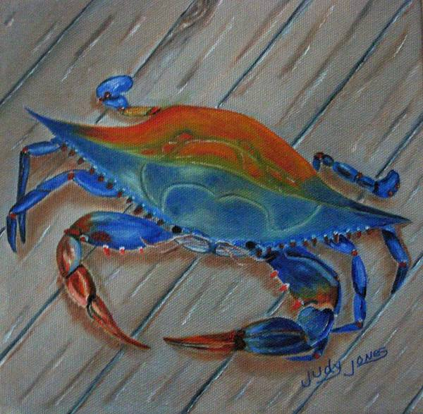 Wall Art - Painting - Blue Crab On The Dock by Judy Jones