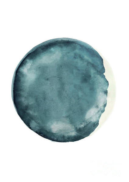 Wax Painting - Blue Cream Moon Phase, New Moon Waxing Crescent Watercolor by Joanna Szmerdt