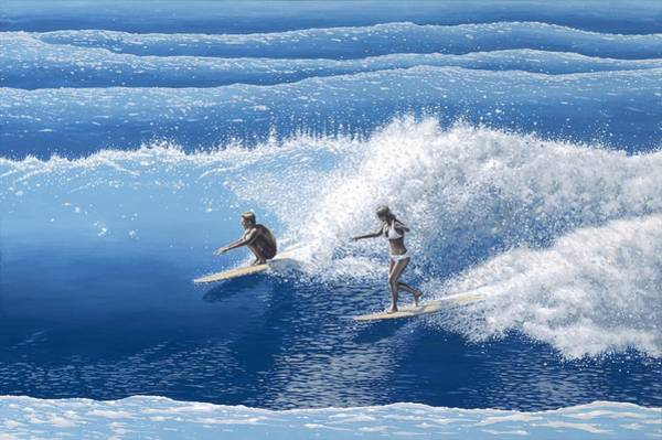 Surfer Painting - Blue Crush by Andrew Palmer