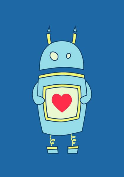 Robot Digital Art - Blue Cute Clumsy Robot With Heart by Boriana Giormova