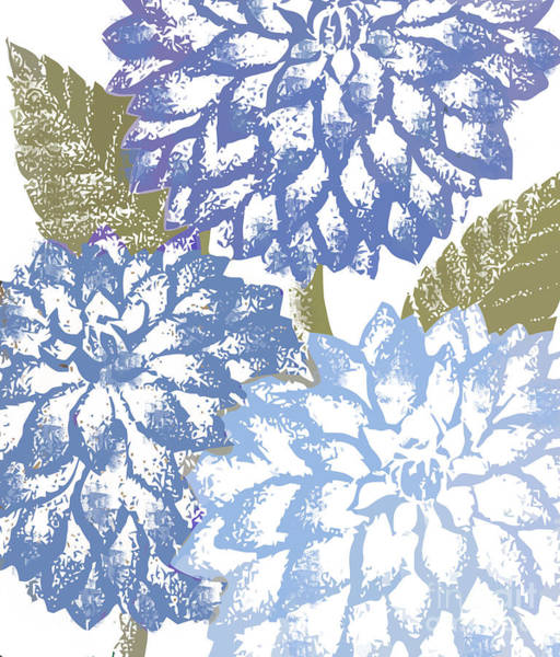 Flower Pattern Painting - Blue Dahlias by Mindy Sommers