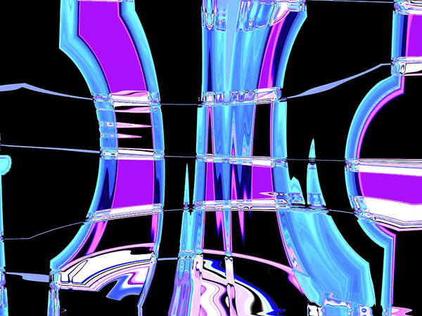 Digital Art - Blue Dark Curved Wave by James Granberry