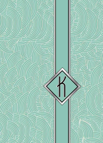Digital Art - 1920s Blue Deco Jazz Swing Monogram ...letter K by Cecely Bloom