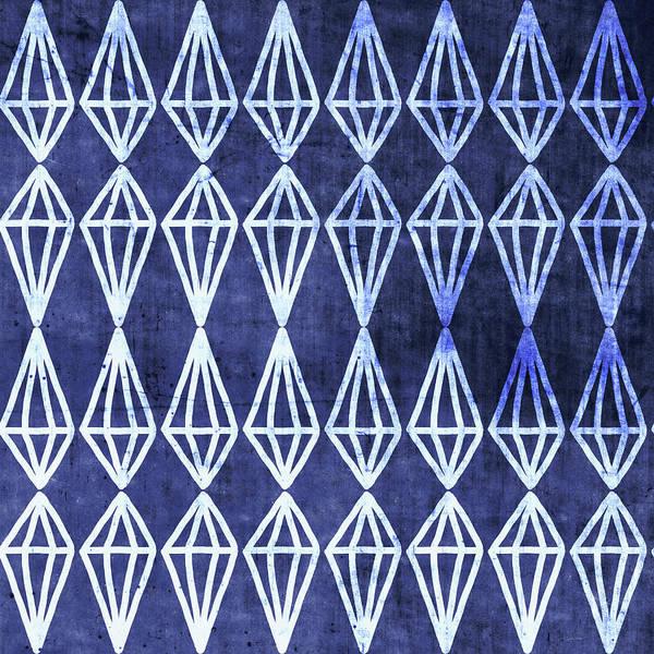 Deep Woods Wall Art - Mixed Media - Blue Diamond Stripe- Art By Linda Woods by Linda Woods