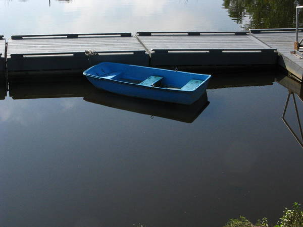 Aft Photograph - Blue Dinghy Quiet Waters by Bill Tomsa
