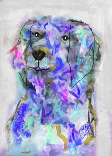 Neon Pink Painting - Blue Dog by Claudia Schoen