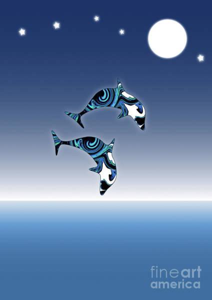 Digital Art - Blue Dolphins Jumping For Joy by Barefoot Bodeez Art