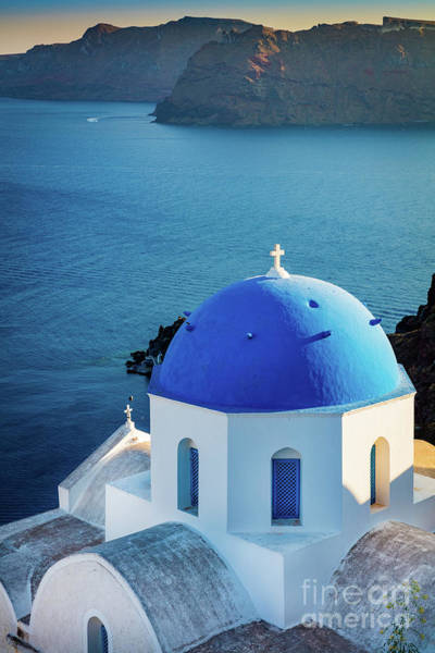 Aegean Sea Photograph - Blue Dome by Inge Johnsson